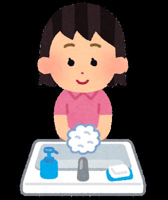 手洗いする女子